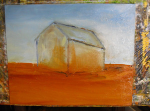 Old Barn oil painting lesson: step 2 sketching in the barn